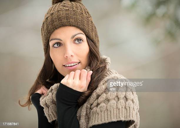 Amazing Brunette Woman, Outdoor Winter Portrait