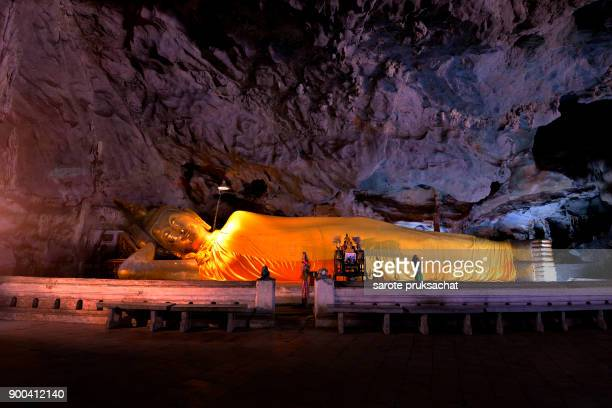 Amazing Buddhism  in the cave Thailand .