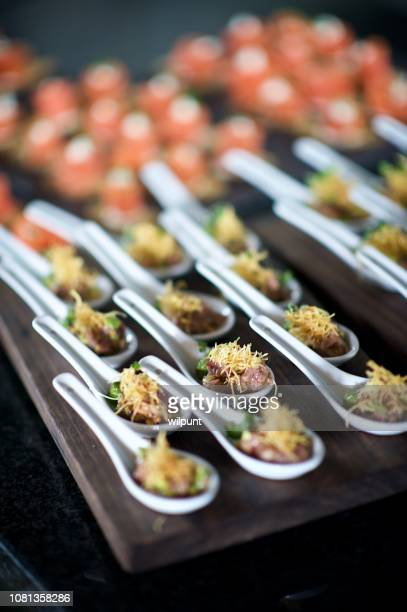 Amazing Canapés on spoons at a celebration party