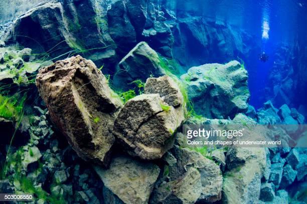 amazing colours of arctic underworld - thingvellir stock photos and pictures
