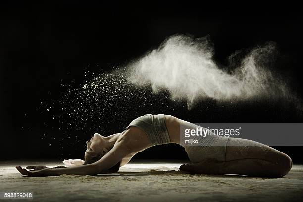 amazing dancer dancing in powder snow - modern dancing stock pictures, royalty-free photos & images