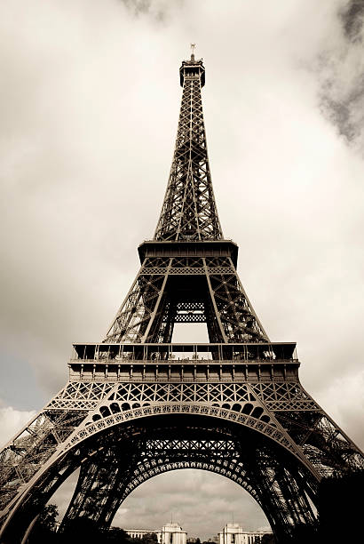 Amazing Eiffel Tower in Paris, France on cloudy day, edited, toned, paris 2007