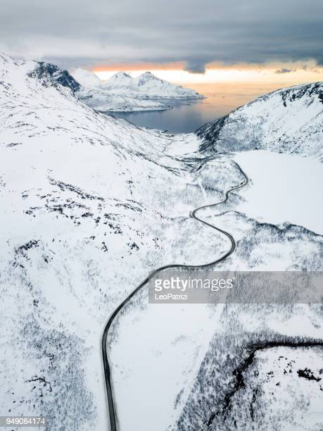 amazing fjords aerial view in norway - northern norway stock pictures, royalty-free photos & images