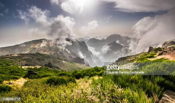 amazing high mountain landscape in pico do arieiro, madeira - madeira fotografías e imágenes de stock