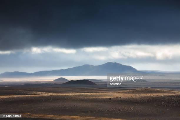 amazing icelandic landscape - lava plain stock pictures, royalty-free photos & images