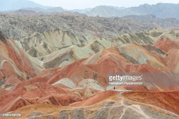 amazing landscape of china's rainbow mountain in danxia landform, zhangye, china - 甘粛張掖国家地質公園 ストックフォトと画像