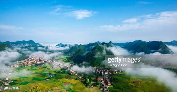 amazing landscape rice field on Bac Son, Viet Nam, above rice terraces in a beautiful day rice field on Bac Son, Viet Nam