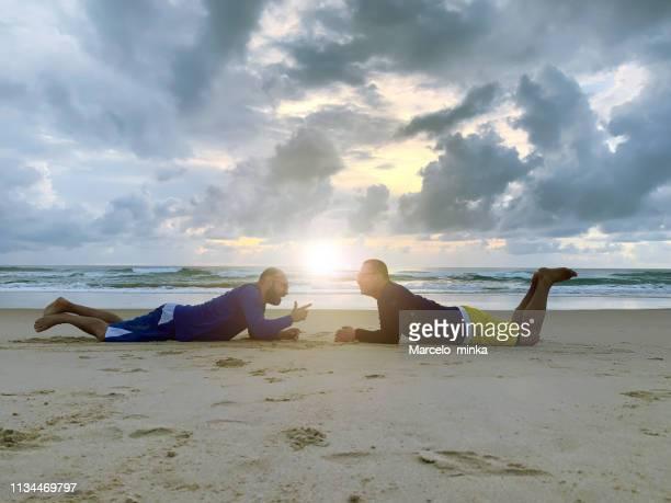 amazing lifestyle on the beach. - porto galinhas stock photos and pictures