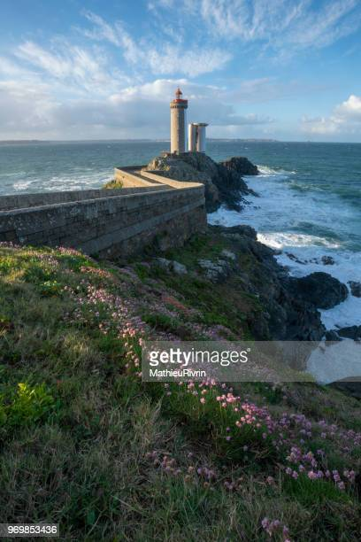 """amazing lighthouse """"petit minou"""" in bretagne - brest brittany stock pictures, royalty-free photos & images"""