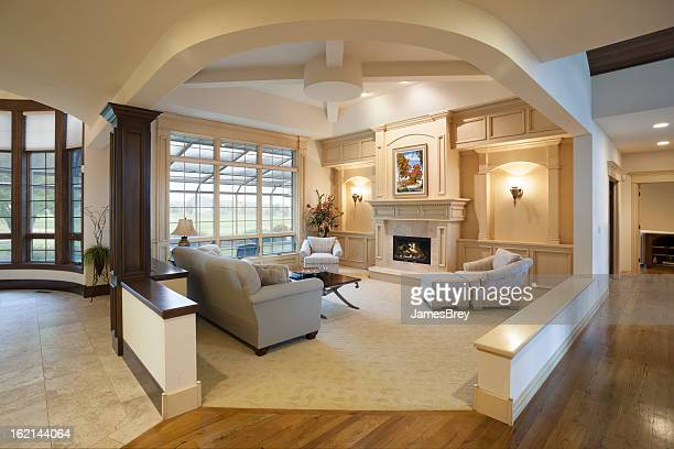 amazing living room architecture, open concept interior design - hardwood stock pictures, royalty-free photos & images