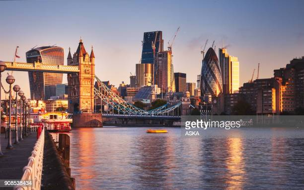 Amazing London skyline with Tower Bridge during sunrise