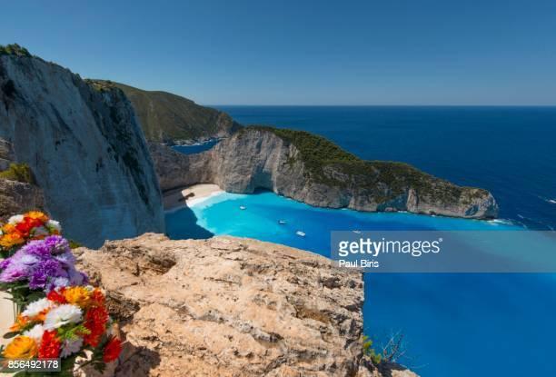 amazing navagio beach ,shipwreck beach, anafonitria, zakynthos, greece - natural landmark stock pictures, royalty-free photos & images