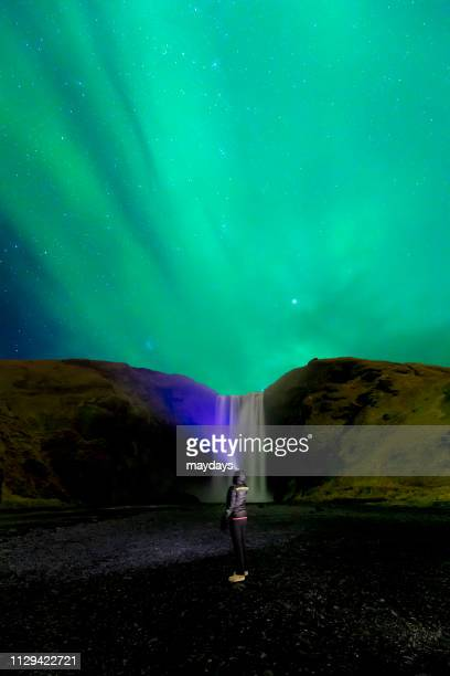 Amazing northern lights in Vik I Myrdal in southern Iceland