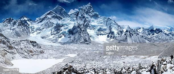 Amazing panorama of Himalayas mountain range on beautiful sunny day