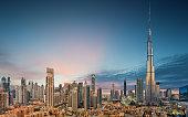 Amazing panoramic view on Dubai futuristic skyline, Dubai, United Arab Emirates