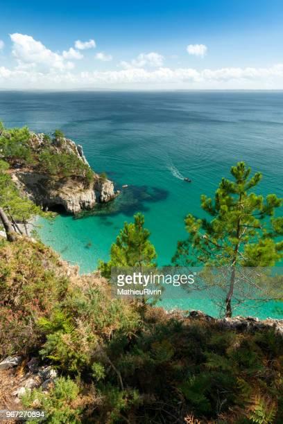 "amazing summer in bretagne with beautiful white sand beach ""ile vierge"" in crozon - océan atlantique photos et images de collection"