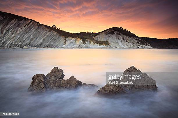Amazing sunset over the coastline