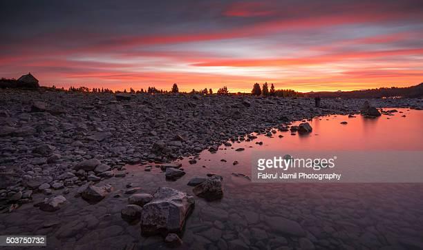 Amazing Sunset Scene in Lake Tekapo