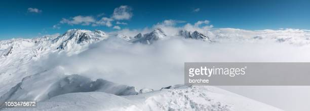 amazing view from 3200 m - trois vallees stock pictures, royalty-free photos & images