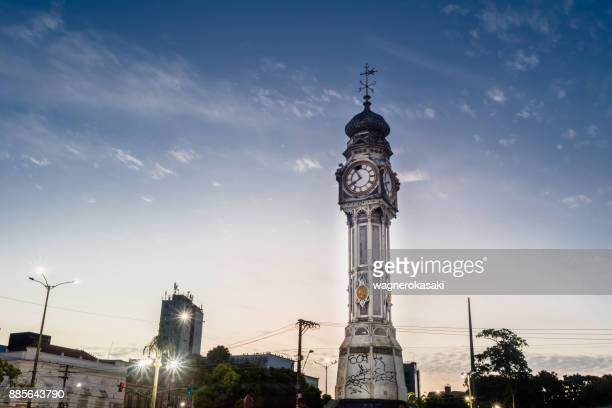 amazing view of famous clock's square (praca do relogio in portuguese), in belem do para, brazil - para state stock photos and pictures