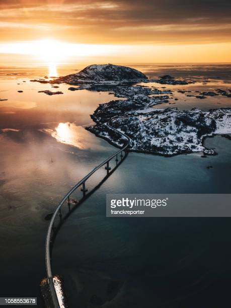 amazing view of the lofoten islands at dusk - sunrise dawn stock pictures, royalty-free photos & images