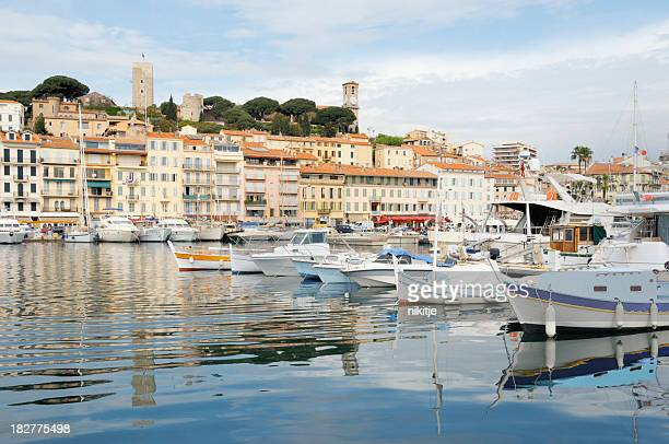 Amazing view of yachts and buildings in Cannes
