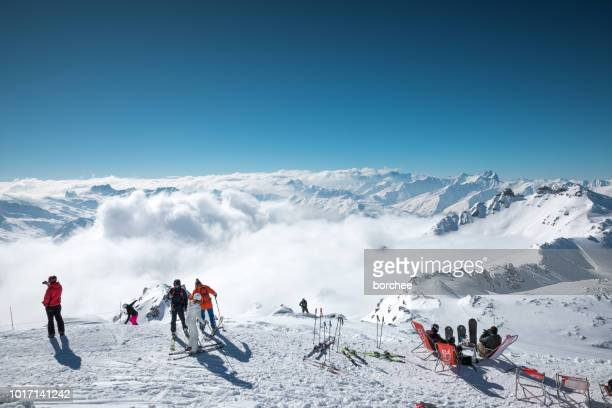 amazing view on top of cime de caron - val thorens stock pictures, royalty-free photos & images