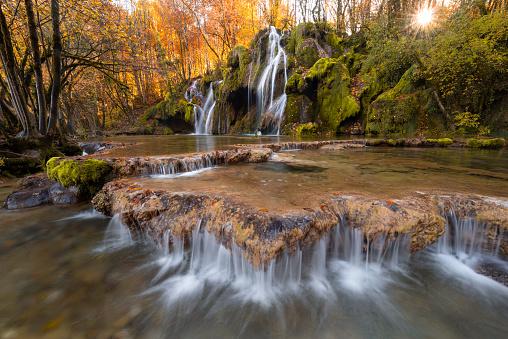 Amazing waterfall in Jura, Franche Comté - gettyimageskorea