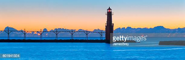 Amazingly beautiful predawn harbor and lighthouse