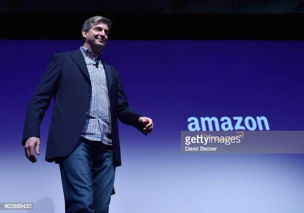Amazon Alexa Senior Vice President Tom Taylor walks on stage during a Panasonic press event for CES 2018 at the Mandalay Bay Convention Center on...