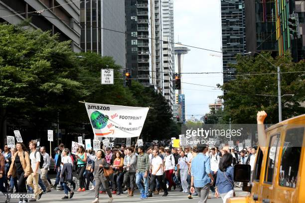 Amazon and other tech employees walkout during the Global Climate Strike on September 20 2019 in Seattle WashingtonIn what could be the largest...