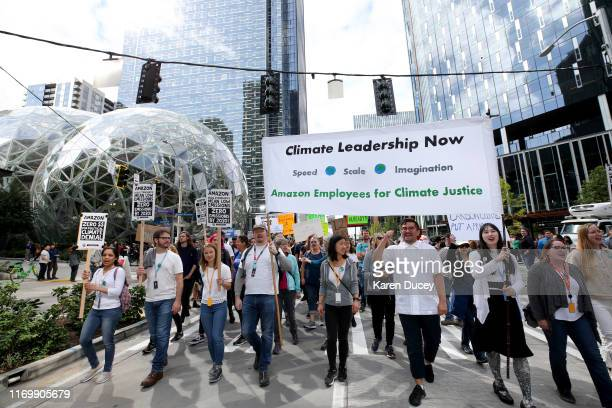Amazon and other tech employees walkout past the Amazon Shperes during the Global Climate Strike on September 20 2019 in Seattle Washington In what...