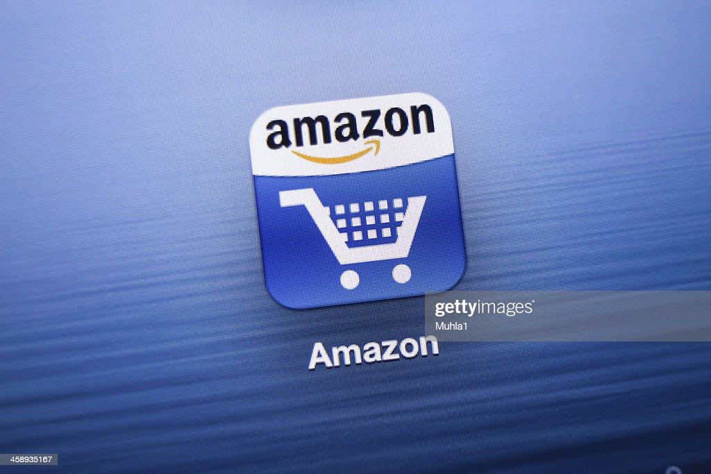 Amazon App icon on New iPad : Stock Photo