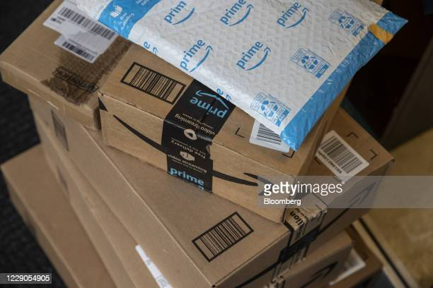 Amazon boxes during a delivery in New York, U.S., on Tuesday, Oct. 13, 2020. Amazon.com Inc.'s two-day Prime Day sale kicks off on Tuesday and is...