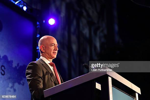 Amazon CEO and Blue Origin founder Jeff Bezos receives an award for advances in space exploration through his company Blue Origin at the Smithsonian...