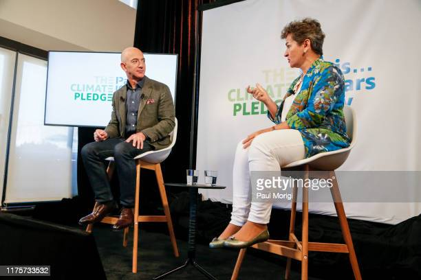 Amazon CEO Jeff Bezos and Christiana Figueres the UN's Former Climate Change Chief announce the cofounding of The Climate Pledge at the National...