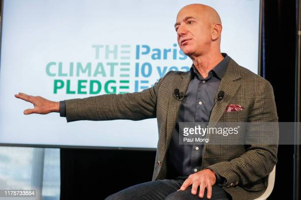 Amazon CEO Jeff Bezos announces the cofounding of The Climate Pledge at the National Press Club on September 19 2019 in Washington DC