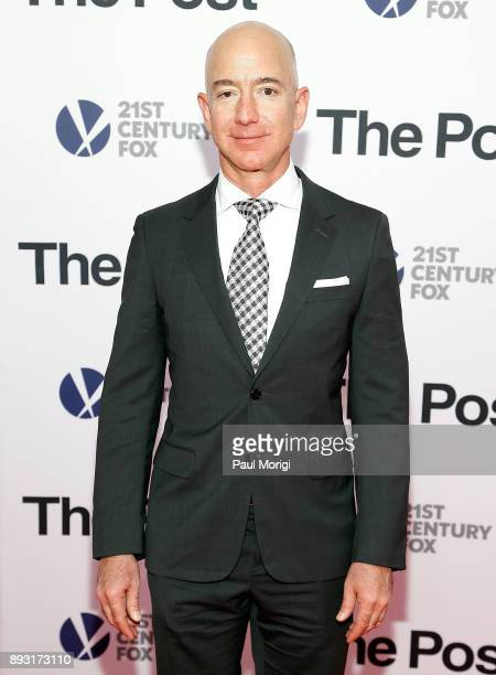 Amazon CEO Jeff Bezos arrives at The Post Washington DC Premiere at The Newseum on December 14 2017 in Washington DC