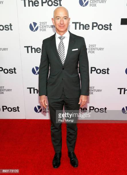Amazon CEO Jeff Bezos arrives at 'The Post' Washington DC Premiere at The Newseum on December 14 2017 in Washington DC