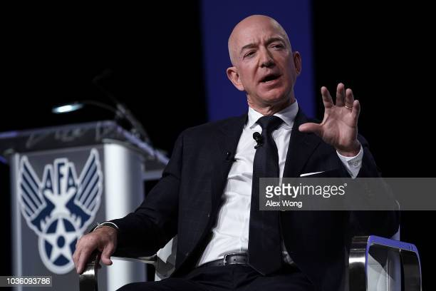 Amazon CEO Jeff Bezos founder of space venture Blue Origin and owner of The Washington Post participates in an event hosted by the Air Force...