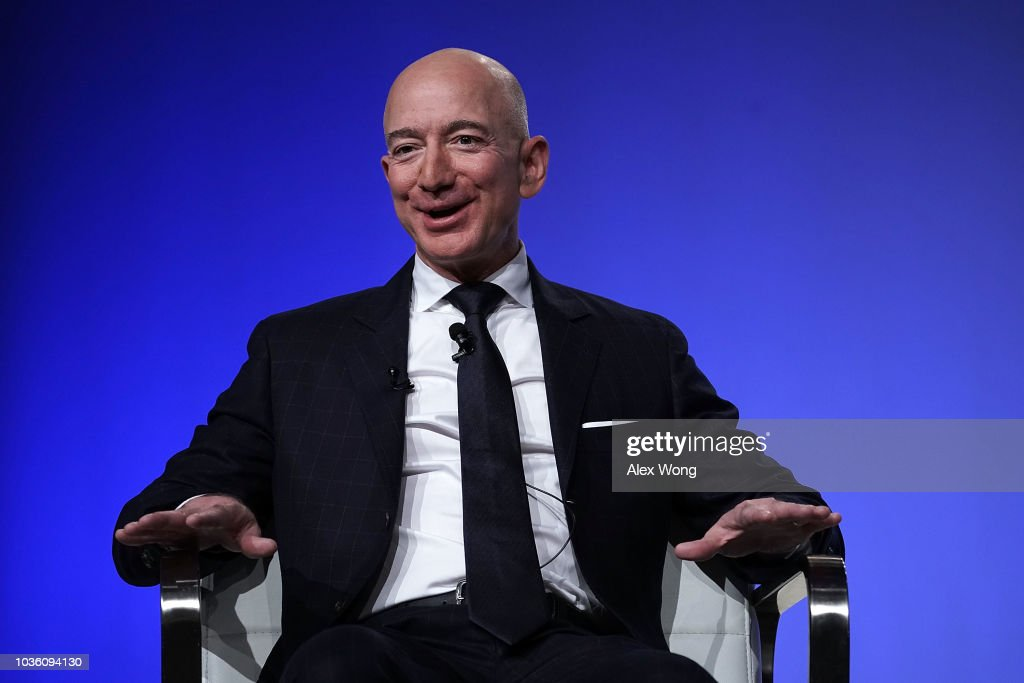 Amazon CEO And Blue Origin Founder Jeff Bezos  Speaks At Air Force Association Air, Space And Cyber Conference : News Photo