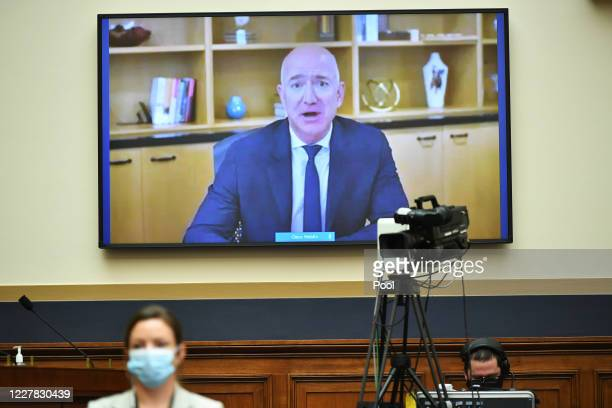 Amazon CEO Jeff Bezos testifies before the House Judiciary Subcommittee on Antitrust Commercial and Administrative Law on Online Platforms and Market...