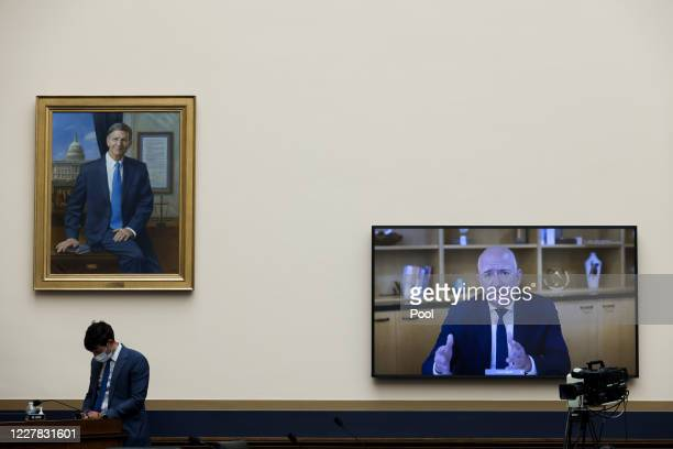 Amazon CEO Jeff Bezos testifies via video conference during the House Judiciary Subcommittee on Antitrust Commercial and Administrative Law hearing...