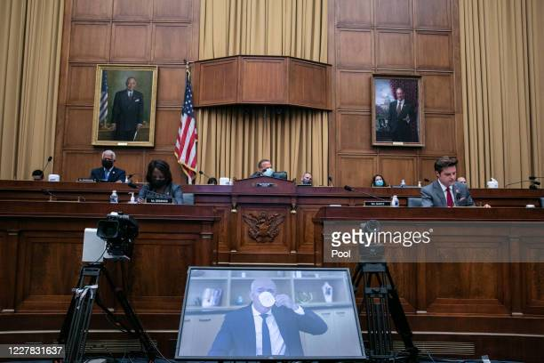Amazon CEO Jeff Bezos testifies via video conference during the House Judiciary Subcommittee on Antitrust, Commercial and Administrative Law hearing...