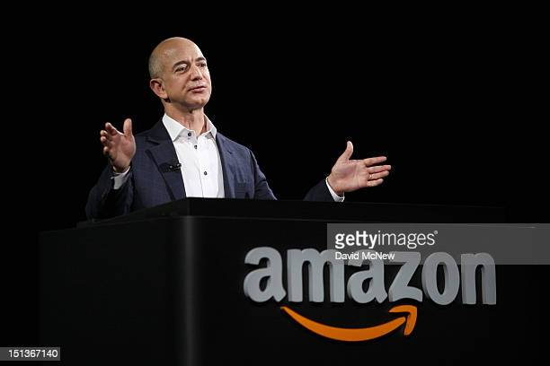 Amazon CEO Jeff Bezos unveils new Kindle reading devices at a press conference on September 6 2012 in Santa Monica California Amazon unveiled the...