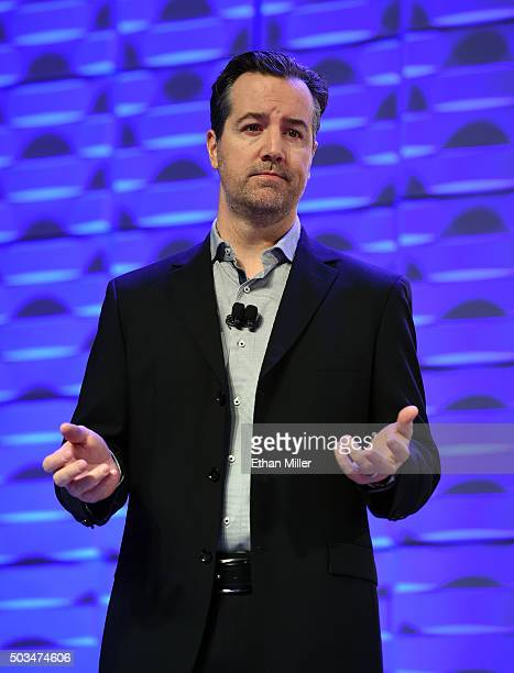 Amazon Echo and Alexa Voice Services Vice President Greg Hart speaks during a Ford Motor Co press event for CES 2016 at the Mandalay Bay Convention...