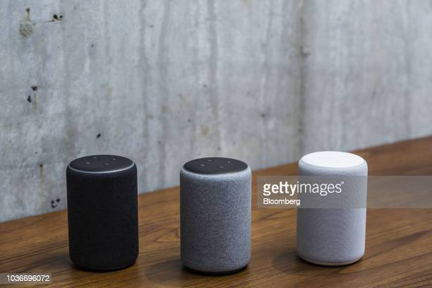 Amazon Echo Plus smart speakers sit on display at the Amazoncom Inc Spheres headquarters during an unveiling event in Seattle Washington US on...
