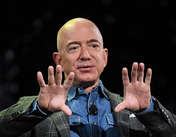 Amazon Founder and CEO Jeff Bezos addresses the audience during a keynote session at the Amazon Re:MARS conference on robotics and artificial...
