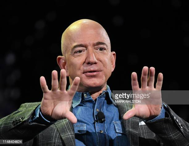 Amazon Founder and CEO Jeff Bezos addresses the audience during a keynote session at the Amazon ReMARS conference on robotics and artificial...