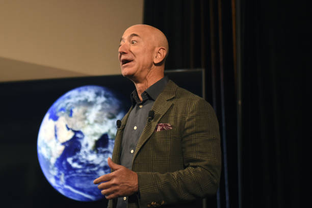 Amazon Founder and CEO Jeff Bezos speaks to the media on the companys sustainability efforts on September 19, 2019 in Washington,DC. - Amazon CEO...